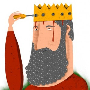 man with beard screws a crown in his head