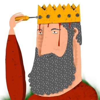 3548be4413970 man with beard screws a crown in his head